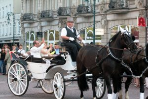 Im Rahmen des Kutschen Koroso fährt die Hochzeitskutsche über den Schlossplatz in Wiesbaden. Bild: Oliver Neuhof