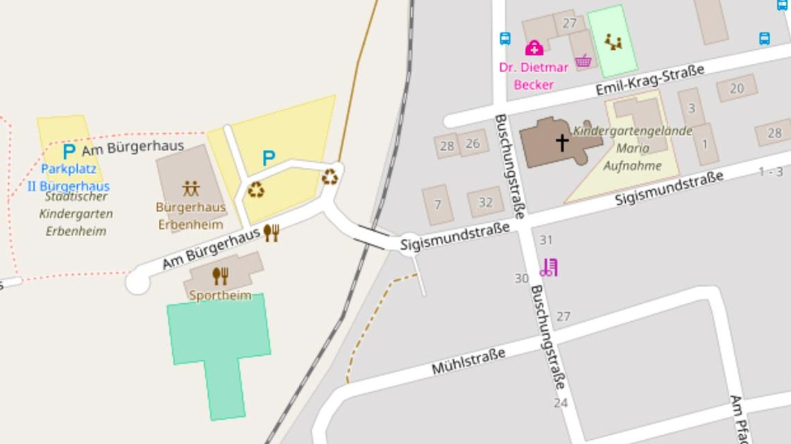 Wenn der Ortsbeirat Erbenheim tagt, geht es zum Bürgerhaus. Bild: Open Street