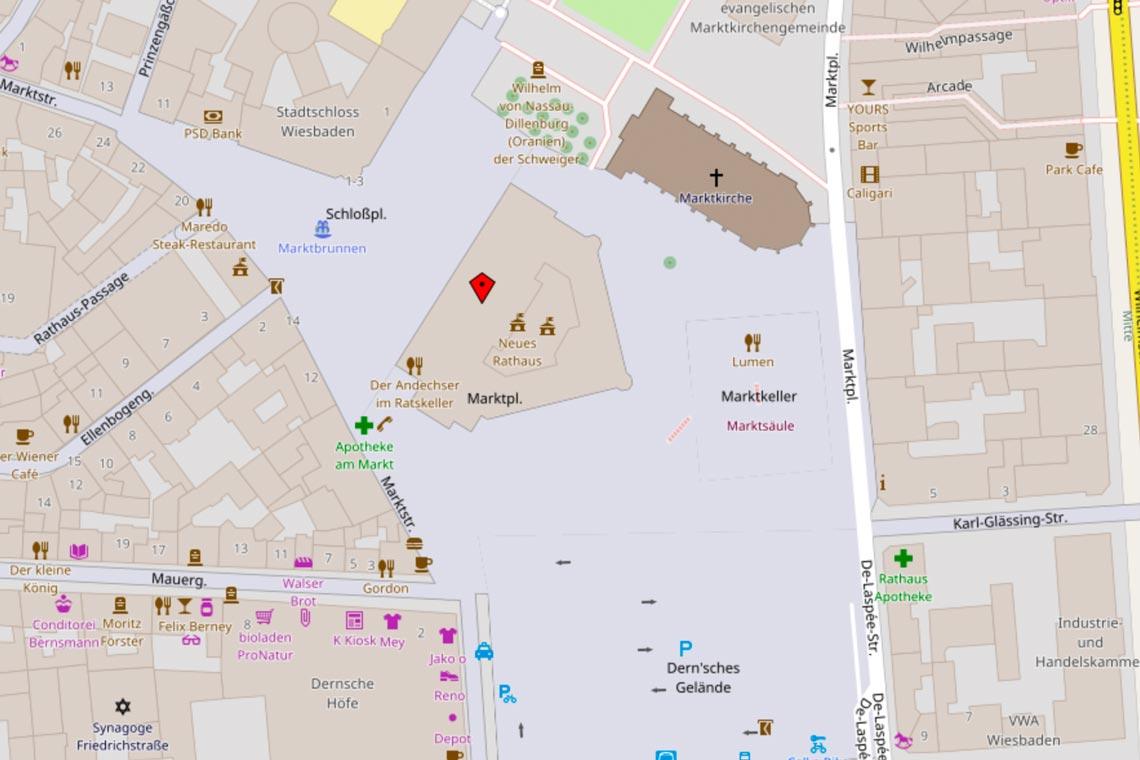 Wiesbaden Karte.Wiesbadener Rathaus Bild Open Street Wiesbaden Lebt