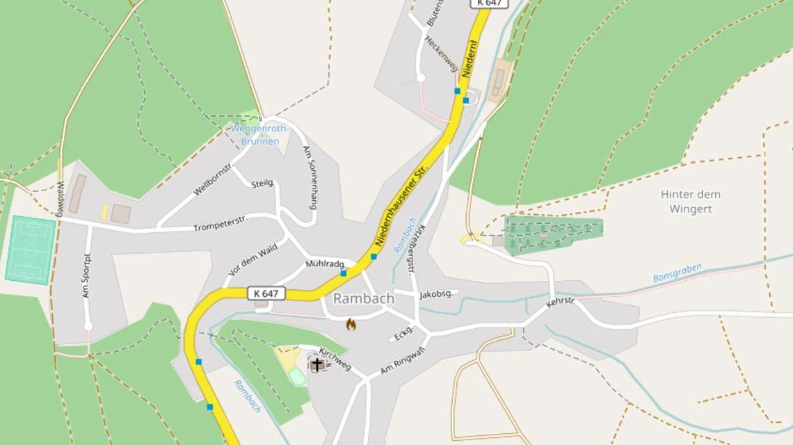 """Neuer Vorrechen im Rambach an der """"Kitzelbergstraße"""", unmittelbar vor der Kanalisierung des Rambachs. Bild: Open Street"""