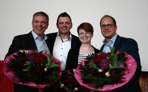 Volk-Borowski zum dritten Mal als SPD-Vorsitzender bestätigt. Im Bild außerdem: Gerd-Uwe Mende und Dr. Patricia Eck. Bild: SPD