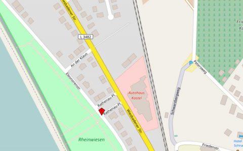 Mainz Kastel, Rathenauplatz, Wiesbadner Straße ... der Wiesbadener Westen. Bild: Open Street