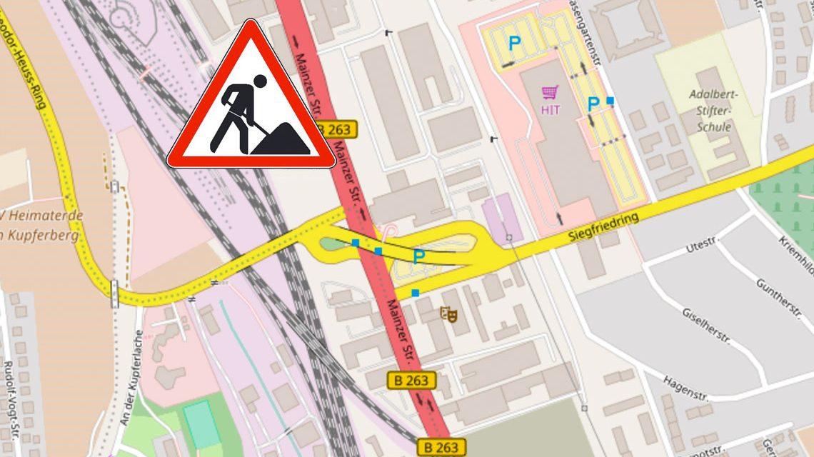 Baustelle Mainzer Straße stadtauswärts. Bild: Openstreet / Volker Watschounek