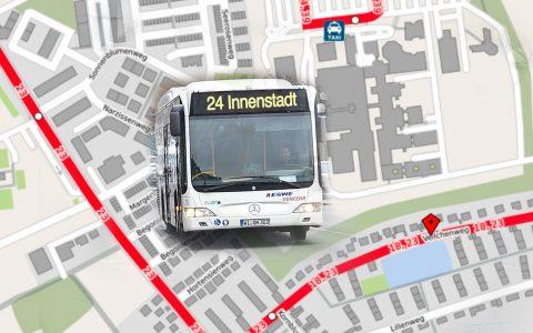 Wegen einer Vollsperrung des Veilchenwegs werden die Linien 18, 23 und N12 ab dem 6. Juni umgeleitet. Bild: Open Street / Volker Watschounek