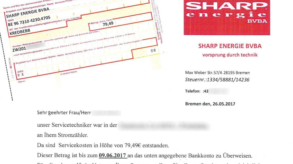Betrugsmasche und Zahlungsaufforderung von Sharp energie BVA. Bild: ESWE Versorgung