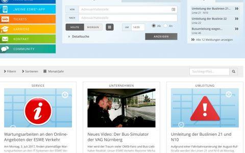 Webseite von ESWE-Verkehr. Bild: Screenshot ESWE Verkehr