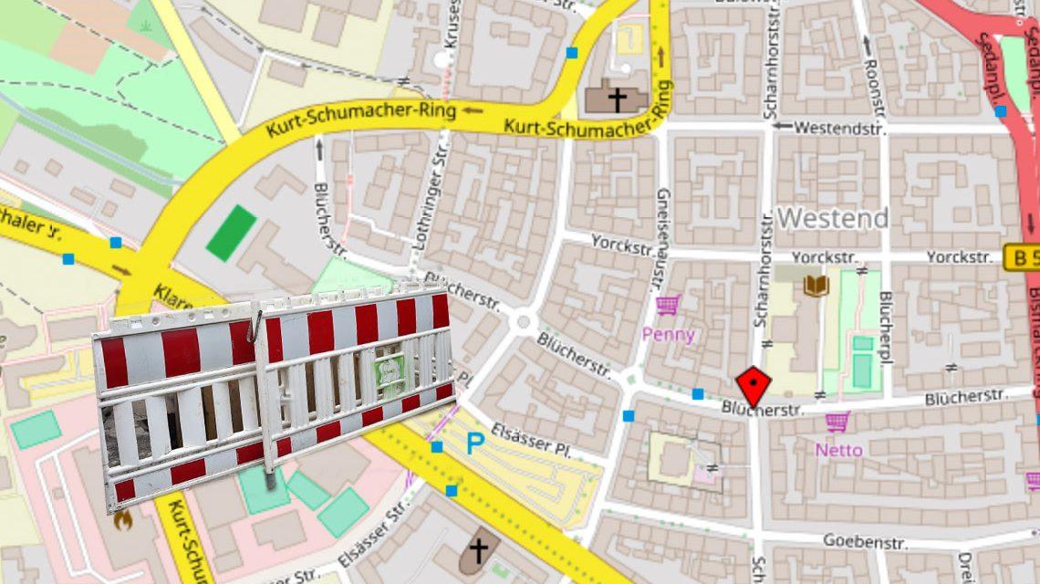 Bauarbeiten in der Blücherstraße zwischen Kurt-Schumacher-Ring und Bismarckring. Bild: Open Street / Volker Watschounek