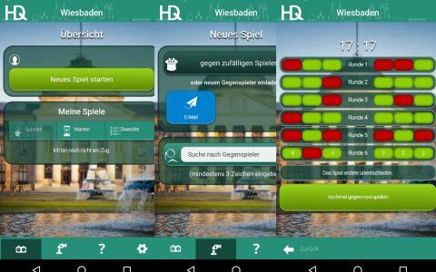 Screenshots aus der App Heimatduell (Startbild, neues Spiel, Spielstand). Bild: Heimatduell-AppBilder aus der App
