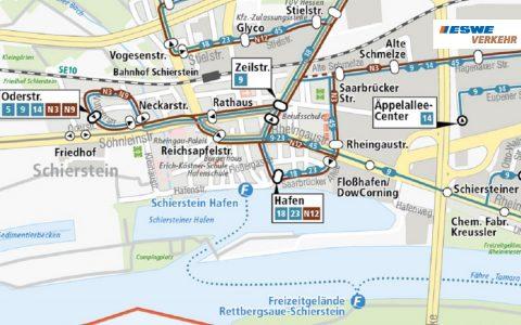 Liniennetzplan (Ausschnitt) der Busgesellschaft ESWE - Bild: eswe-verkehr.de