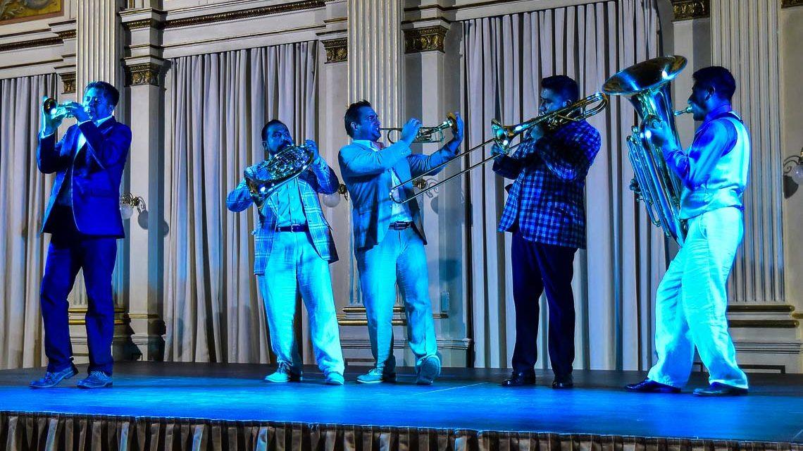 M5 Mexican Brass spielen im Rahmen ihrer Deutschland Tourne ein Konzert bei der Mozart Gesellschaft in der Räumen der Casino Gesellschaft Wiesbaden. Bild: Volker Watschounek