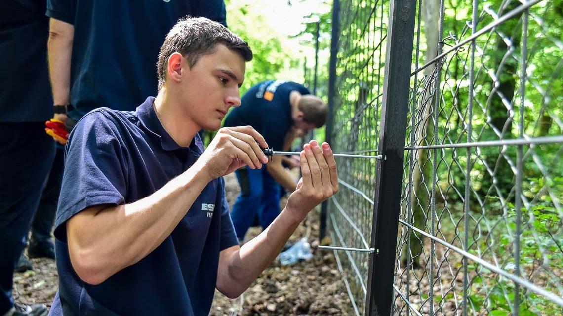 ESWE Versogung soendete anfang der Woche der Fasanerie 5000 Euro und unterstützt den Tier- und Pflanzenpark mit Auszubildenden bei den Wiederaufbauarbeiten. Bild: Volker Watschounek