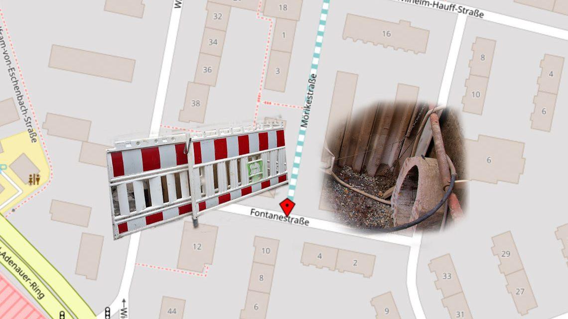 Kanalarbeiten in der Fontanestraße. Bild: Volker Watschounek / Open Street