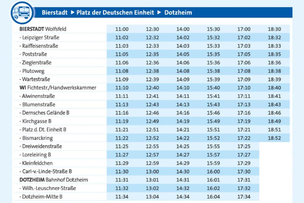 Fahrplan der historischen Buslinie 7 zur Weinwoche ab Bierstadt. Bild: ESWE Verkehr
