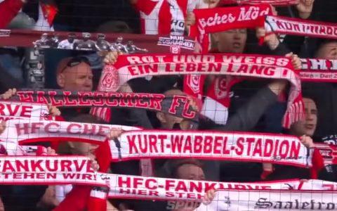 Fans vom Halleschen FC beim Heimspiel gegen SV Wiesbaden. Bild: mdr / YouTube