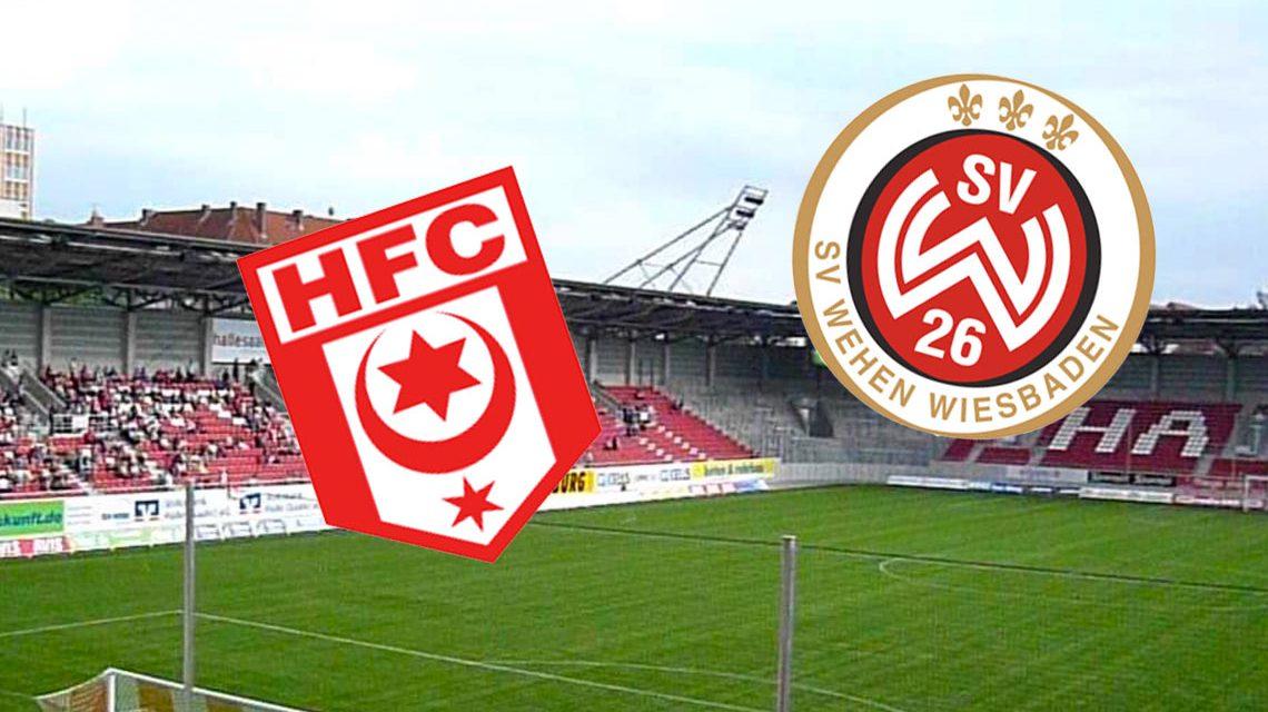 3. Liga, 7. Spieltag – Halle gegen Wiesbaden, daheim. Bild: Logos der Vereine