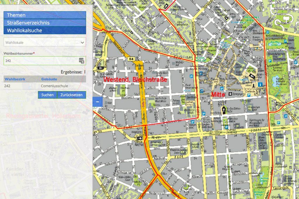 Wahllokal-Finder auf dem Geoportal der Stadt Wiesbaden. Bild: Geoportal