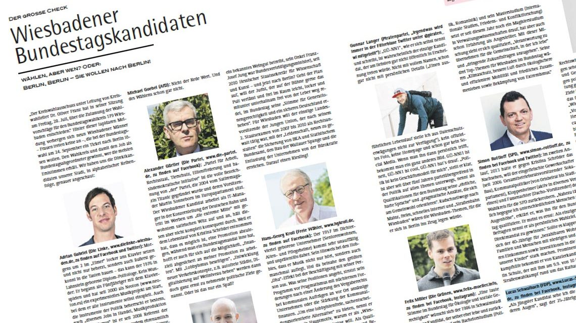 Wiesbadens Direktkxandidaten im Sensor #56 / 2017. Bild: Sensor