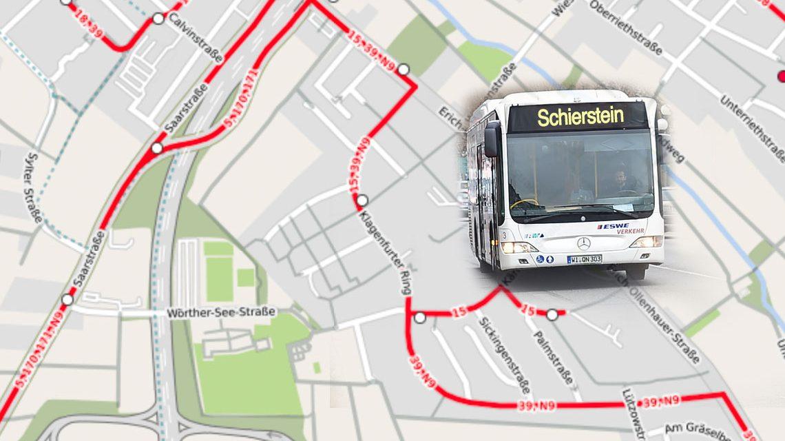 Wegen Baumaßnahmen in der Erich-Ollenhauer-Straße werden die Buslinien 5, 15, 18, 39, 170, 171 und N9 umgeleitet. Bild: Openstreet