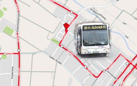 Buslinie 39: Dr.-H.-Schmidt-Kliniken – Dotzheim – Biebrich. Bild: ©2017 Openstreet / Volker Watschounek