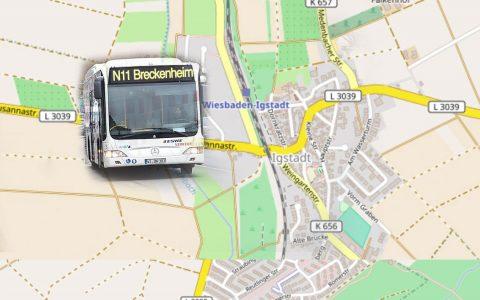 Die Linie N11 ab Montag, 9. Oktober, umgeleitet. Bild: Volker Watschounek / Open Street