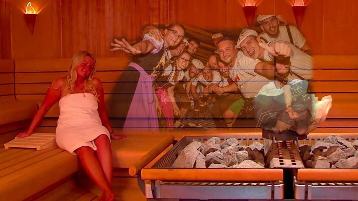 Dirndl und Lederhosen in der Sauna: Dann schon lieber ein blau-weißes Handtuch. Bild: Volker Watschounek ( Thermalbad Aukam