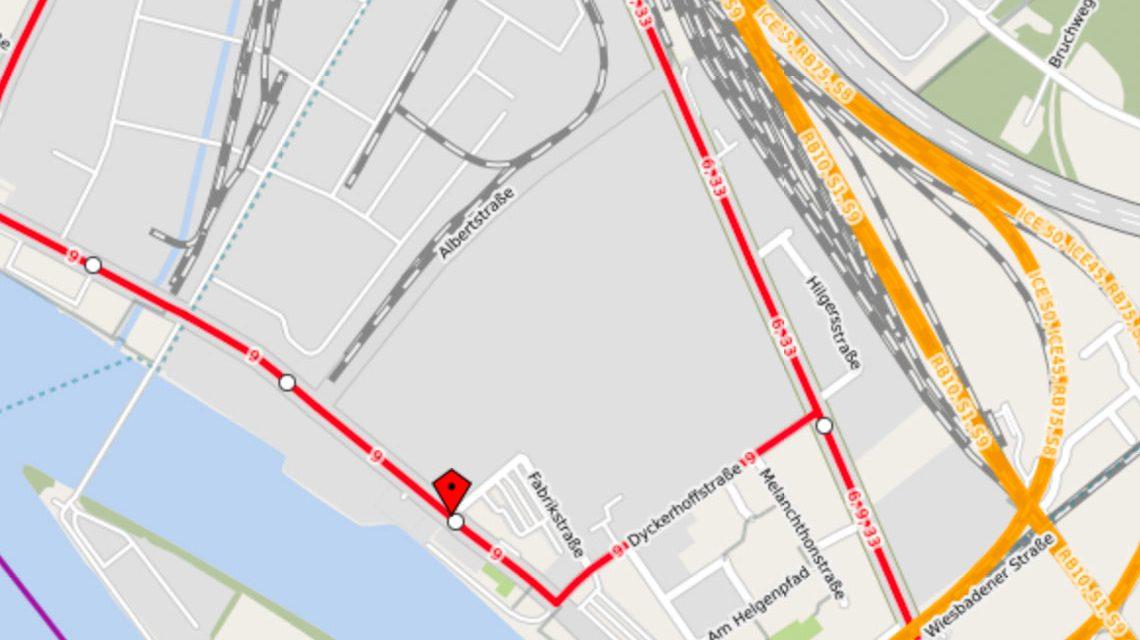 Biebricher Straße, Buslinie 9 ... @2017 Openstreet / Watschounek