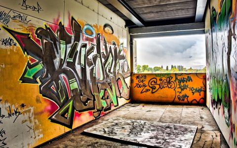 Graffiti, diesmal nicht auf einer Hausfassade, sondern an einer Wand. @2017 Eric Meyer