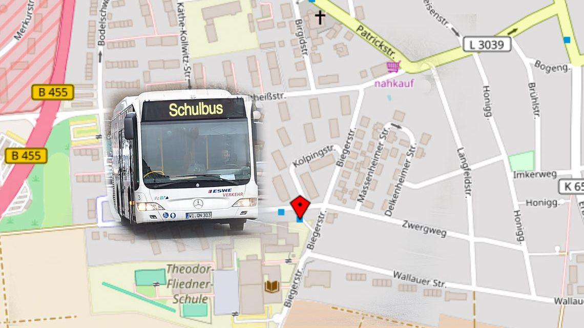Busverkehr zur Fliegerschule ist behindert. @2017 Open Street / Volker Watschounek