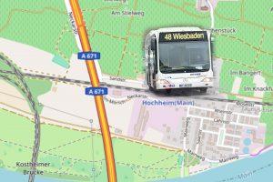 Wegen Arbeiten an einer Schilderbrücke in Hochheim an der B 40 wird die Linie 48 von Mittwoch, 3. Januar, 20 Uhr, bis Donnerstag, 4. Januar, 5 Uhr, in Richtung Wiesbaden umgeleitet.©2018 Open Street / Volker Watschounek