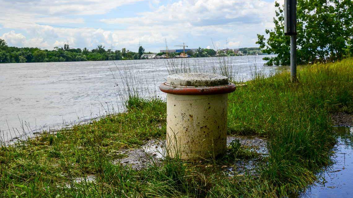 Spaziergang am Rheinufer, soweit es geht. Hochwasser macht manche Wege unpassierbar. ©2018 Volker Watschounek
