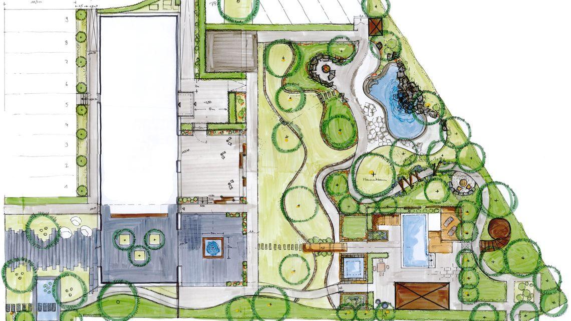 Die Zeichnung steht, die Bauarbeiten haben angefangen. So wird bald der neue Schaugarten strahlen. ©2018 Gramenz Gartenbau