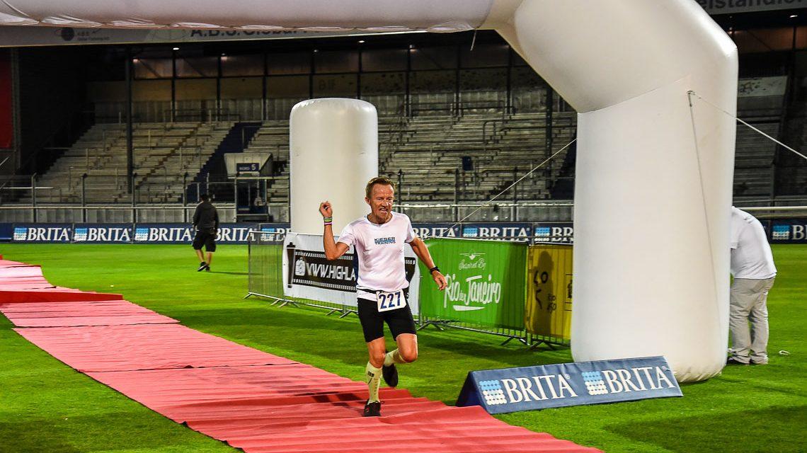 Zieleinlauf in der Brita-Arena beim ersten Wiesbadener Stadionlauf. ©2018 Volker Watschounek