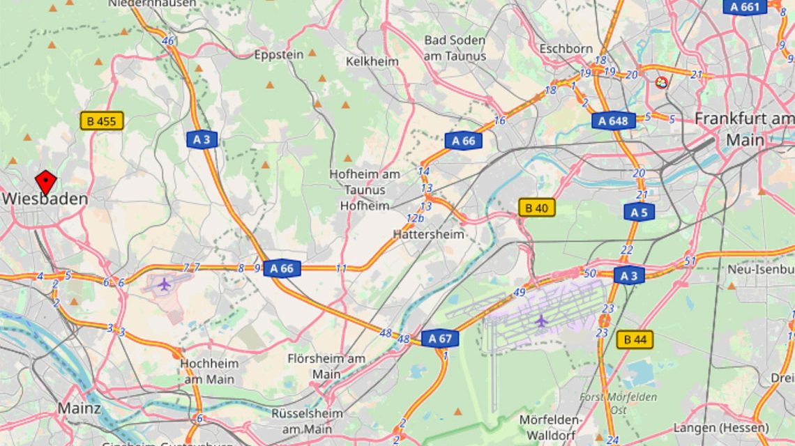 Von Wiesbaden nach Frankfurt in 28 Minuten, über die Wallauer Spange. ©2018 Openstreetmap