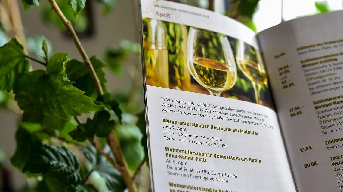 Weinkalender für das Jahr 2018 mit zahlreichen Veranstaltungen der Wiesbadener Winzer. ©2018 Volker Watschounek