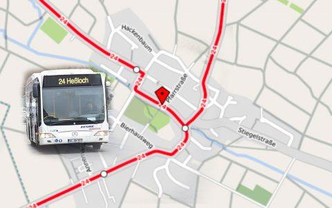 Die Line 24 und die Linie N11 (Rückfahrten) werden wegen der Vollsperrung der Bachstraße von umgeleitet. © 2018 OpenStreetMap