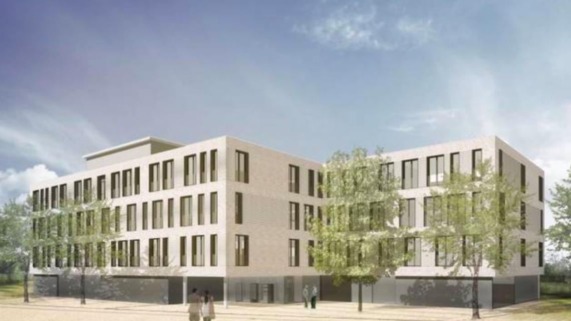 Der Neubau des Oberstufen-Gymnasiums ist als vier-geschossiger Massivbau geplant. ©2018 architektei mey