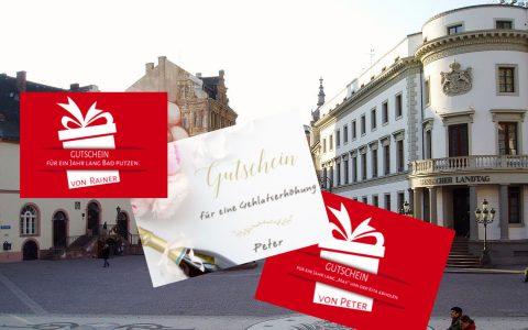 Bündnis 90/Die Grünen verteilen am Weltfrauentag Gutscheine an Frauen. @2018 Volker Watschounek