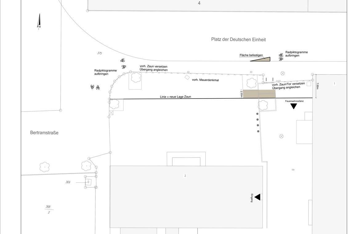Neugestaltung der Freifläche zwischen Elly-Heuss-Schule und Sporthalle. ©2018 Verkehrsdezernat