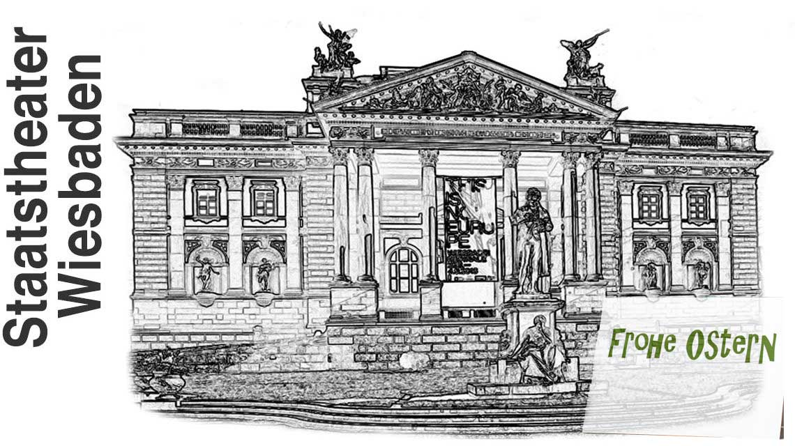 Das Hessische Staatstheater Wiesbaden bietet den Besucherinnen und Besuchern zu Ostern »Überraschungen im Theater-Osterei« an. ©2017 Volker Watschounek