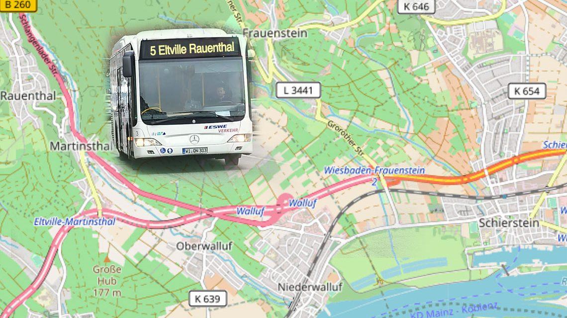 2015 ist erstmals ein gemeinsamer lokaler Nahverkehrsplan zwiecshen der Landeshauptstadt Wiesbaden und dem Rheingau-Taunus-Kreis beschlossen worden. ©2018 Volker Watschounek / Open Street Map