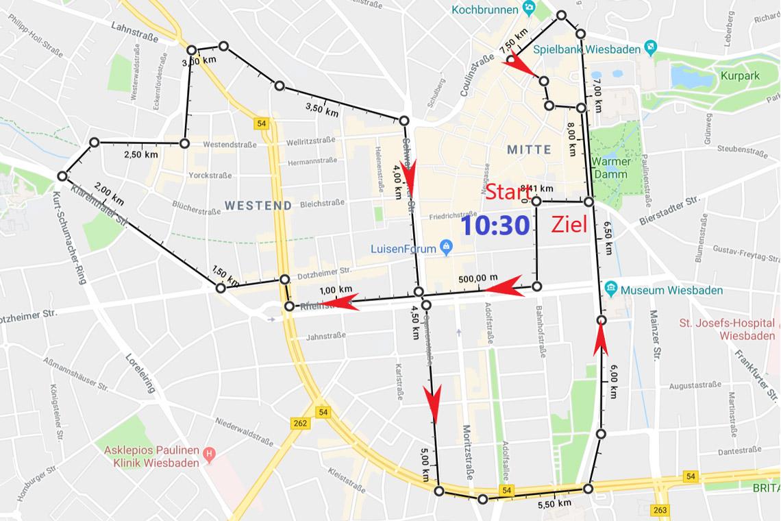 Rundkurs des zweiten Wiesbadener Schulkorso. ©2018 Stadt Wiesbaden