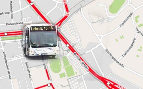 """Haltestelle """"Berliner Straße Bussteig D"""" kann nicht angefahren werden. ©2018 Open Street"""