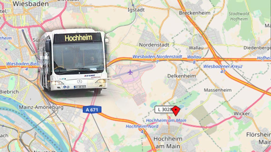 Fotomontage: Nightliner und Linie 48 zum Hochheimer Weinfest mit dem Veranstaltungsticket. ©2018 OpenstreetMap und Volker Watschounek