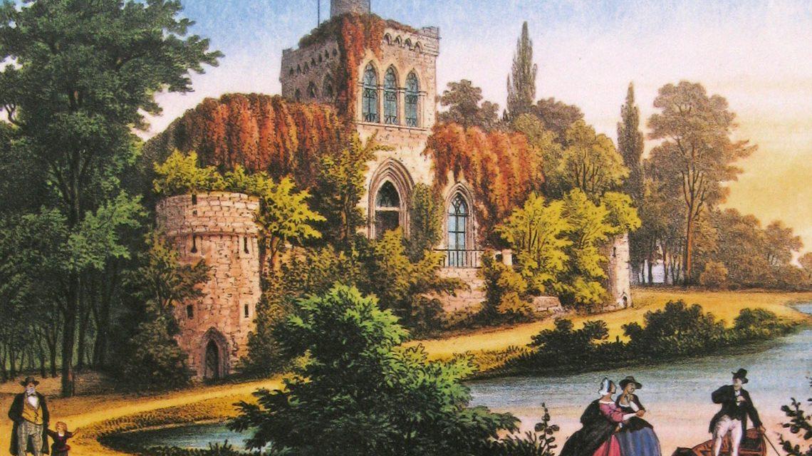 Die Mosburg im Schlosspark Biebrich, Lithografie aus dem Jahr 1850, Gemeinfrei