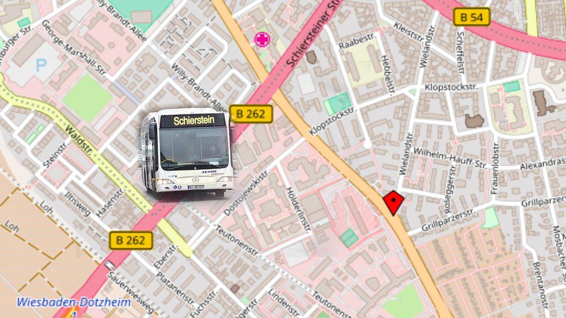Sanierungsarbeiten in der Schiersteiner Straße. @2018 Fotomontage Volker Watschounek / Karte OpenStreet