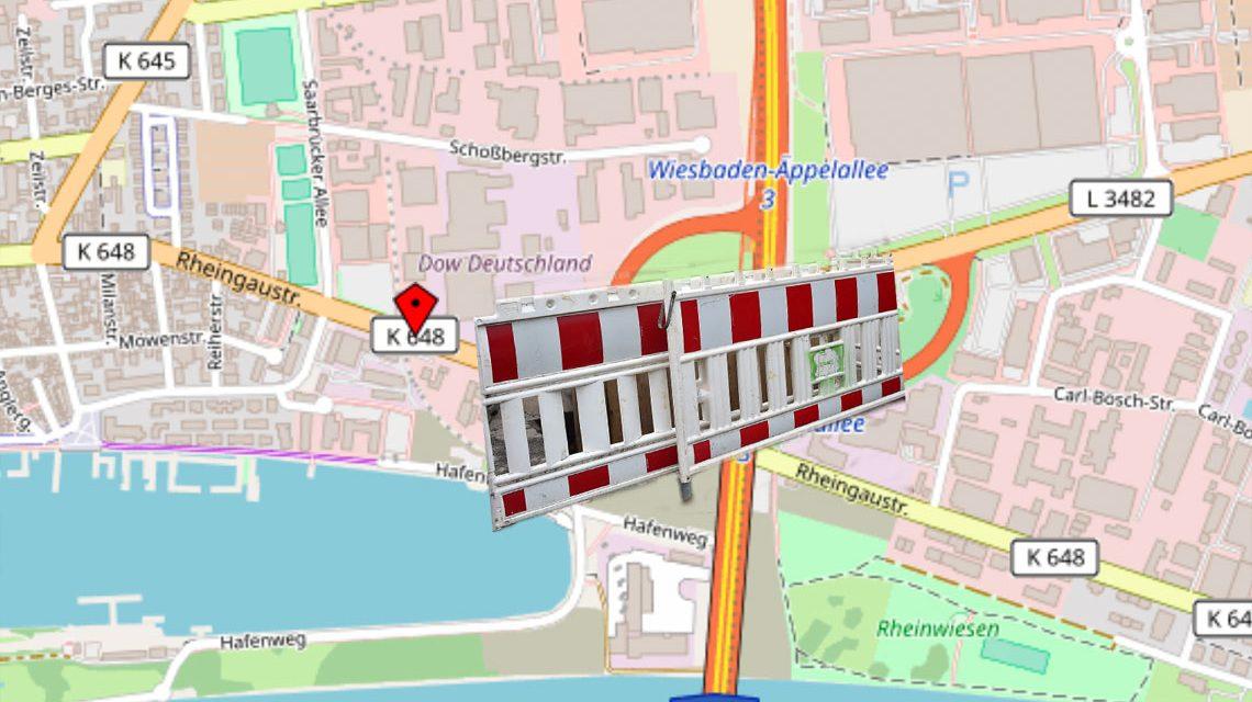 Vollsperrung der Rheingaustraße vom 20. Juli, 20 Uhr, bis Montagmorgen, 23. Juli, 5 Uhr. ©2018 OpenStreetMap / Volker Watschounek