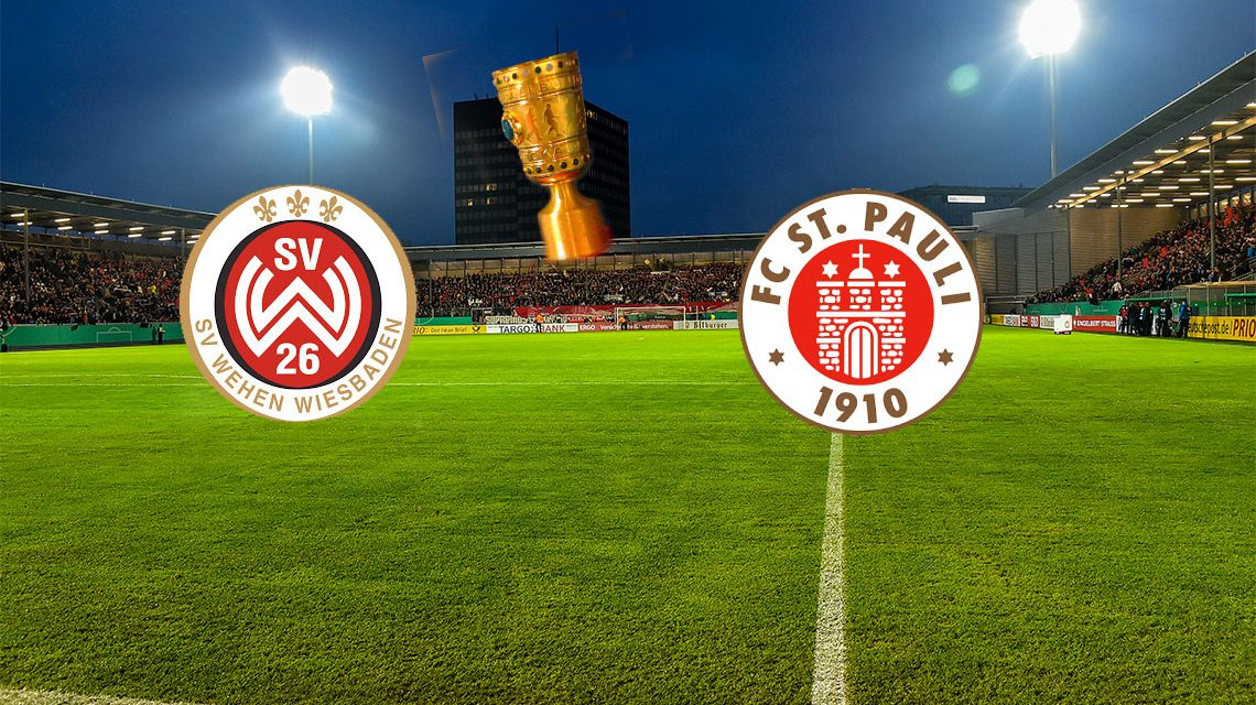 SC Wehen Wiesbaden - FC St. Pauli | DFB Pokal | 17. August, 2o:45 Uhr @2018 Fotomontage Volker Watschounek Materiel SVWW, St. Pauli, Achim Hepp, Flickr CC BY-SA 2.0