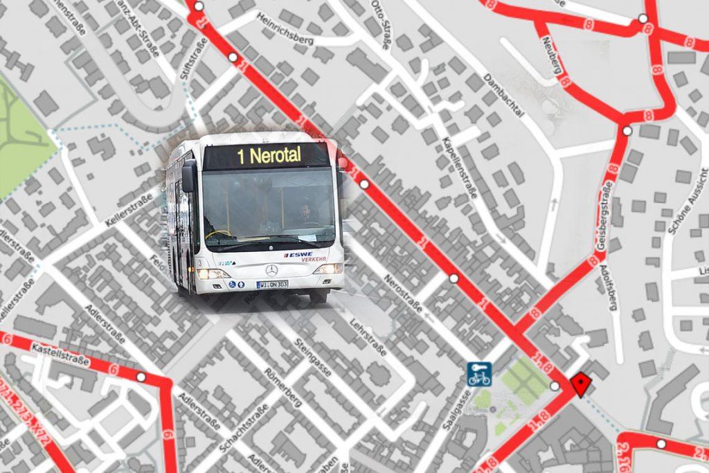 Busumleitung wegen Taunusstraßenfest. ©2018 OpenStreetMap / Volker Watschounek