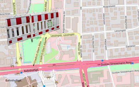 Vollsperrung der Friedrich-Ebert-Allee. ©2018 OpenStreetMap