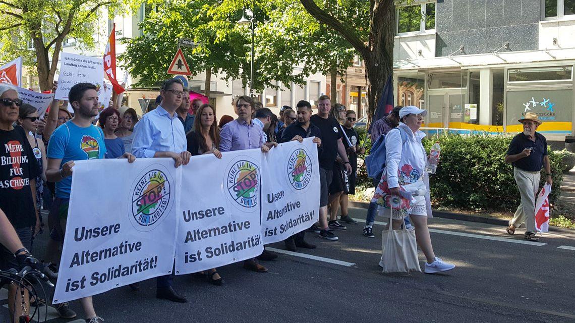 Landesvorsitzender der SPD Hessen Thorsten Schäfer-Gümbel am 19. August bei einer Demo in Wiesbaden. ©2018 DGB Wiesbaden